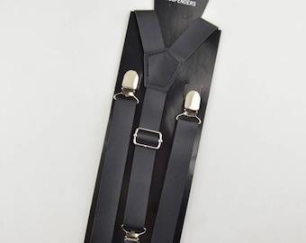 Black Adult Leather Suspender Boyfriend Gift Men's Gift Anniversary Gift for Men Husband Gift Wedding Gift ForHim Groomsmen Gift Party