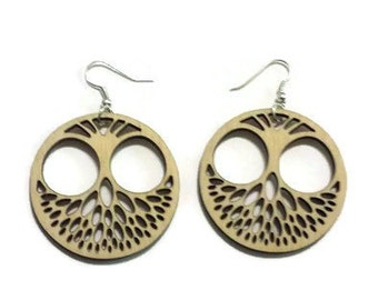 Earrings, Laser cut wood, laser cut wood earrings, Owl earrings, laser cut owl earrings