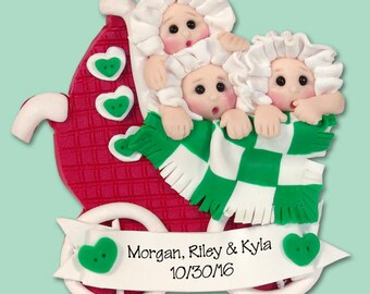 TRIPLETS  1st Christmas Personalized Baby Ornament - HANDMADE Polymer Clay Ornament - Limited Edition