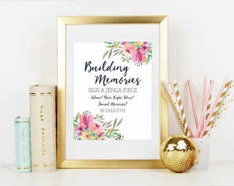 Jenga Wedding Sign, Building Memories, Jenga Guestbook Sign, Bridal Shower, Bridal Shower Decor,Wedding Decor,Watercolor, Printable No. 1018