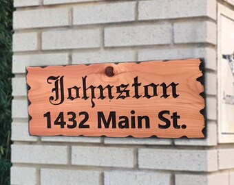 Custom personalized hand carved routed western red cedar wood sign with name and street address 3 sizes available