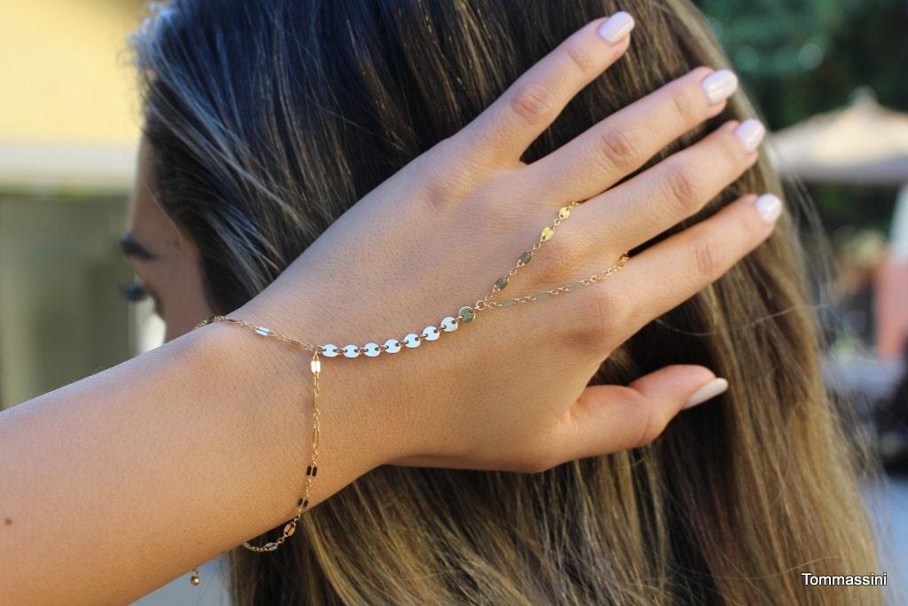 free people Gold Bracelet Chain Hand Bracelet Slave