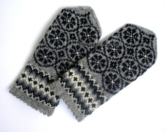 Gray Black Wool Mittens Gray Black Wool Gloves Hand Knitted Latvian Mittens with Pattern Hand Knitted Gray Women's Gloves Winter Gloves Gift