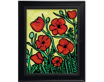 Red Poppies Print - Red Poppy Wall Art - Field of Poppies - Floral Print with Mat or Without - Abstract Flower Art Print by Claudine Intner