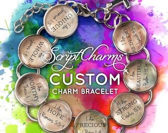 "CUSTOM ScriptCharms Christian Charm Bracelet, 6""-9.5"""