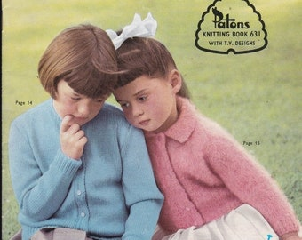 ON SALE Paton's Knitting Pattern No 631 For Children Boys and Girls (Vintage 1960s)  Jackets, Cardigans, Jumpers, Sweaters
