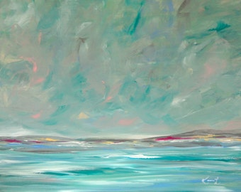 Seascape Painting Acrylic on Canvas 16x20 Original Art Signed Wall Art Teal Waters Coastal