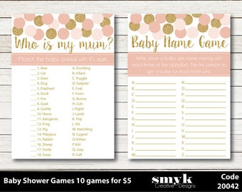 All 10 Baby Shower Games Pink And Gold Glitter Effect Digital Printable Files Emailed PDF and JPEG Code 20042