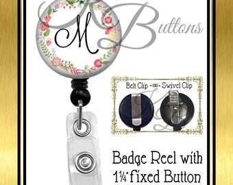 Custom Badge Reel, Flower Wreath Badge Reel, Custom Initial Badge Reel, Retractable Badge Reel, Secretary Gift, Coworker Gift BRN002