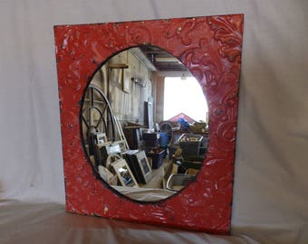 AUTHENTIC Vintage Tin Ceiling Mirror Red Shabby Recycled CHIC 23x20 240-17P