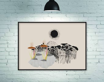 Modern abstract, abstract print, abstract art print, abstract wall art, large horizontal print, abstract landscape, large wall art, giclee