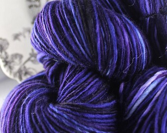 Handspun Yarn Gently Thick and Thin Single Alpaca Merino and Silk 'Grapefully Yours'