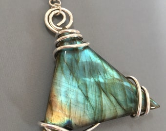 Multi blue-Green Flashy Labradorite Trillion stone wrapped in  999 Fine silver - Large- Always unique - Pendant only or add a Leather choker
