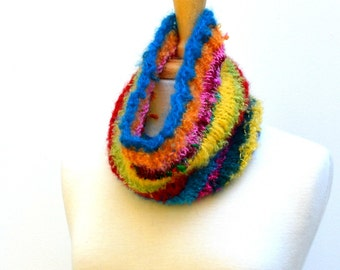 Striped Cowl Scarf...Knitted Tube Loop...Red Blue Yellow Orange