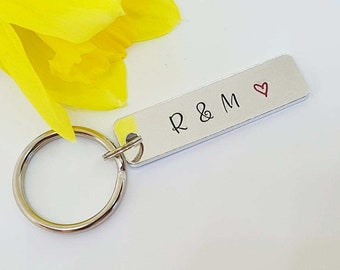 Couple Keyring, Hand Stamped Keyring Keychain, Boyfriend Gift, Girlfriend Gift, Valentine's Gift, Initial Keyring, Wedding, Anniversary Gift