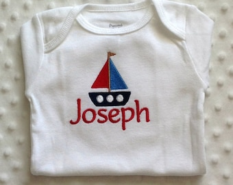 Baby Boy  Personalized Sailboat Bodysuit