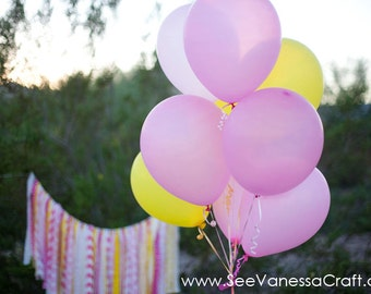 Pink and Yellow Fabric Garland-3 feet in length, Birthday , Pink Lemonade Party, Baby Shower
