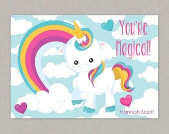 Valentine Classroom Cards, Unicorn Valentine Card, Classroom Valentine Card, Valentine's Day, Rainbow, Kids Valentine Cards, Kids Valentines