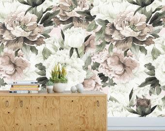 Queen Ann Wallpaper, Removable Wallpaper, Floral Wallpaper, Nursery Wall Decor, Flower Wallpaper, Wallpaper, Baby Girl Nursery Girl Wall