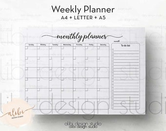 Monthly Planner, Monthly Calendar, Monthly Organiser, Printable Planner, To Do List , Daily Planner, A4 Printable, A5 Planner Inserts