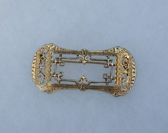 Vintage 1940s Victorian Art Deco Brooch Pin Gold Rectangle Brooch Pin Ornate Filigree Brooch Pin Mourning Portrait Frame FREE Shipping