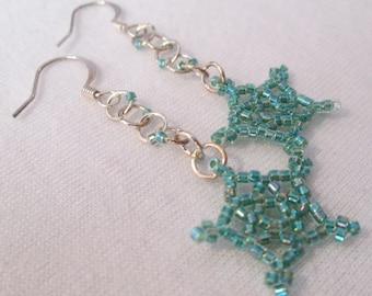 Forest Green Lucky Star Earrings