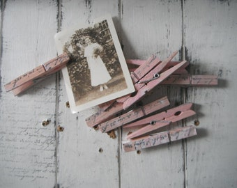 painted pegs chippy pink pegs 8 pack wedding favour weathered pegs cottage decor shabby and chic clothing pins  rustic pegs hand stamped