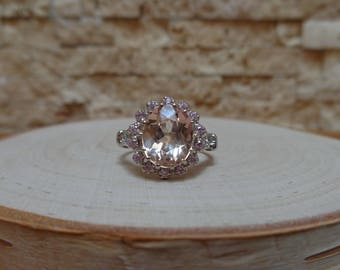Morganite and Pink Sapphire ring in Sterling Silver size 7