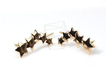 ERG-017-G/4Pcs-Stars/ 6mm x 20mm /Ear Climbers Earring-Gold Plated over Brass