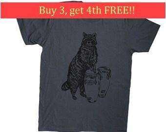 Mens TShirt Funny - Mens Gift Shirt - Graphic Tee Men - Charcoal Grey Printed Tee - Gift for Men - Mens Tee Shirts - Raccoon S M L XL 2XL