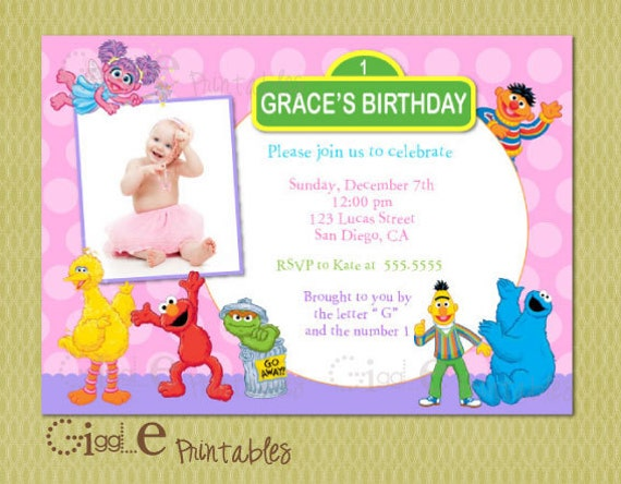 Elmo Sesame Street Birthday Invitation