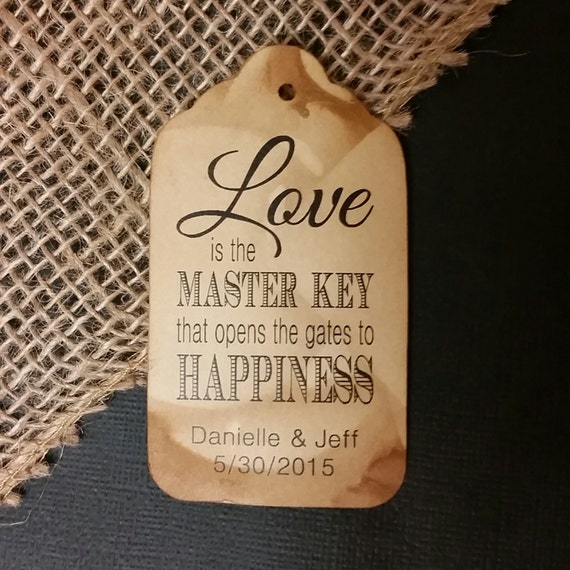 Love is the Master Key Large Tags Personalize with names and date Choose your Quantity