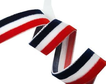 White Red Blue Gucci Style Velvet Trim Ribbon, Plush Striped Gucci Ribbon Trim