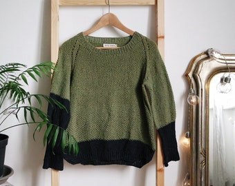 Summer Crunchy Leaves Sweater in Green + Black Cotton, Summer Sweater, top down pullover, oversized minimal knitwear