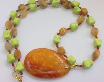"Long chartreuse and yellow necklace Large dream agate pendant Natural semi precious stone 25"" Colorful necklace Princess length Artisan OOAK"