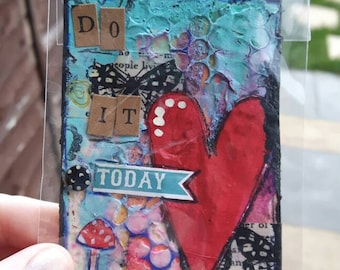 Do it today Aceo artists trading card Red heart