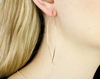 Fish Hoop Earrings, Gold Fish Earrings, Gold Hoop Earrings, Long Gold Earrings, Hoop Earrings, Fish Earrings, Long Earrings