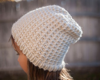 Hand knit cream colored beanie