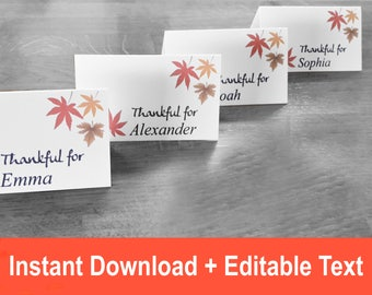 Thanksgiving Printable Place Card, Folded Place Cards, DIY place cards, Table Tent, Name Card, Thanksgiving Seating, Thanksgiving Table