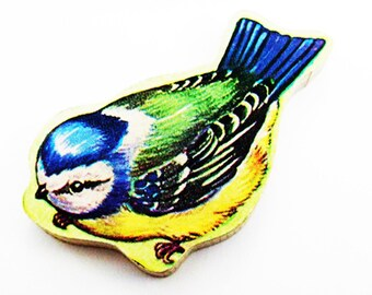 1960s Blue Tit Brooch - Pin / Unique Gift Under 50 / Upcycled Vintage Hand Cut Wood Jewelry / Blue, Green, Yellow Bird & Wood Bird Name Pin