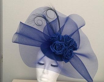 Sale Royal blue fascinator. Wedding hat, Royal Ascot, kentucky derby.