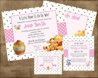 Winnie the Pooh Baby Shower Invitation Set Girl - PDF Kit & jpeg