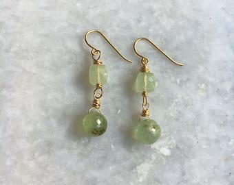 Tidal earrings – Prehnite, gold-filled wire