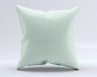 Light Green with White Polkadots ink-Fuzed Decorative Throw Pillow