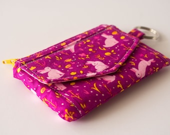 Rabbit Coin Purse, Bunny Wallet, Small Wallet, Bunny Pouch, ID Pouch, Pink and Yellow