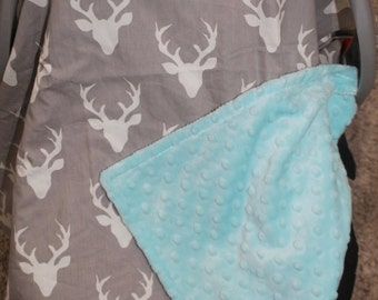 Carseat Tent - Gray Buck Carseat Canopy, Tent, Deer, Antler -Ready to Ship