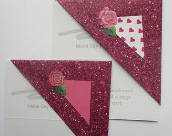 Pink Rose BOOKMARK Set, Two Corner Bookmarks, Paper bookmarks