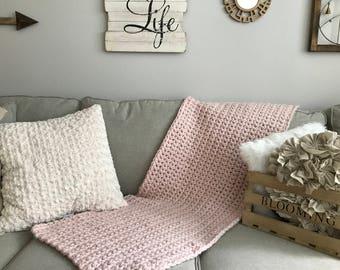Baby Blanket, Chunky knit Blanket, Soft Chunky Knit Blanket, Chunky knit throw, Soft Blanket, Crochet Blanket, Cream Blanket, Beige Comfort