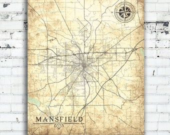 MANSFIELD OH Canvas print Ohio Oh Vintage map Oh City Vintage Wall Art Work map poster Vintage retro Old map Ohio town plan gift home decor