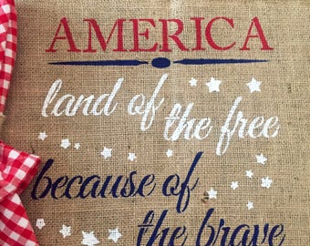 Burlap Patrotic Placemats / Americana Placemats / Land of the Free Placemats / America Placemat